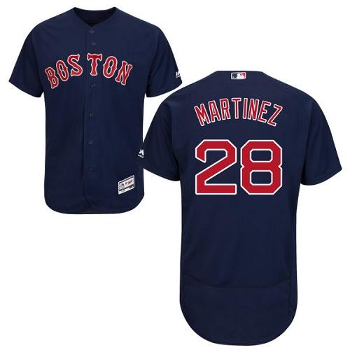 Men's Majestic Boston Red Sox #28 J. D. Martinez Navy Blue Alternate Flex Base Authentic Collection MLB Jersey