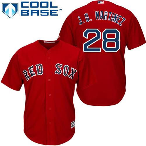 Men's Majestic Boston Red Sox #28 J. D. Martinez Replica Red Alternate Home Cool Base MLB Jersey