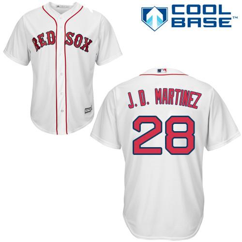 Men's Majestic Boston Red Sox #28 J. D. Martinez Replica White Home Cool Base MLB Jersey
