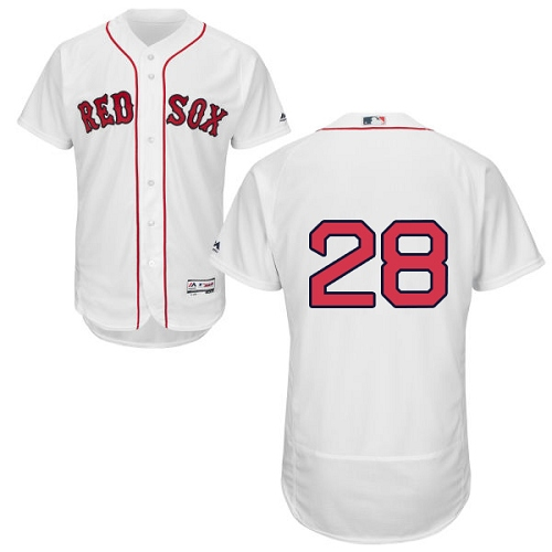 Men's Majestic Boston Red Sox #28 J. D. Martinez White Home Flex Base Authentic Collection MLB Jersey