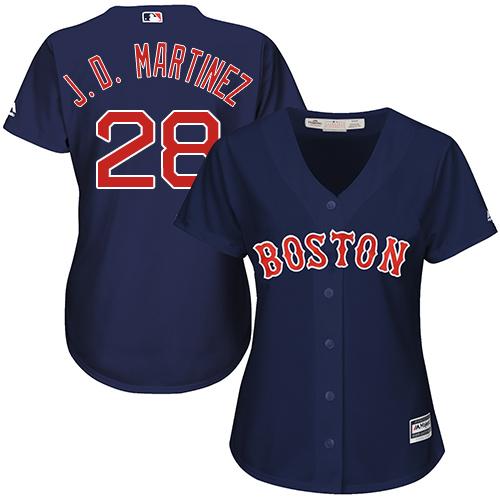 Women's Majestic Boston Red Sox #28 J. D. Martinez Authentic Navy Blue Alternate Road MLB Jersey