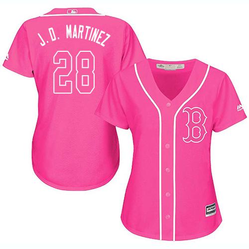 Women's Majestic Boston Red Sox #28 J. D. Martinez Authentic Pink Fashion MLB Jersey