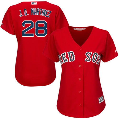Women's Majestic Boston Red Sox #28 J. D. Martinez Authentic Red Alternate Home MLB Jersey