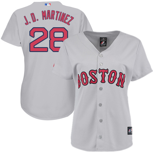 Women's Majestic Boston Red Sox #28 J. D. Martinez Replica Grey Road MLB Jersey