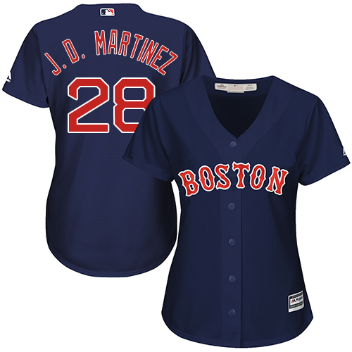 Women's Majestic Boston Red Sox #28 J. D. Martinez Replica Navy Blue Alternate Road MLB Jersey