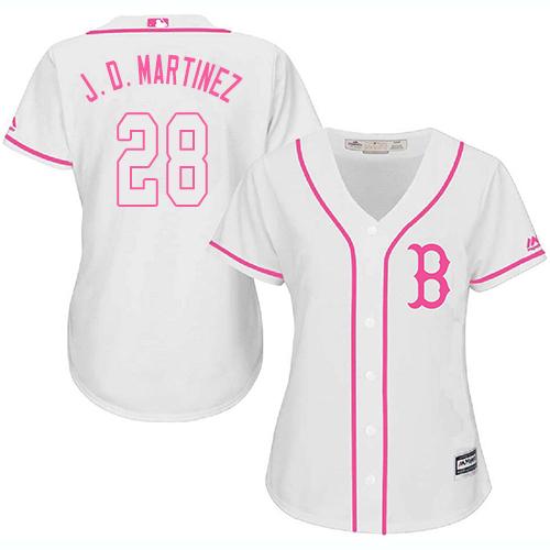 Women's Majestic Boston Red Sox #28 J. D. Martinez Replica White Fashion MLB Jersey