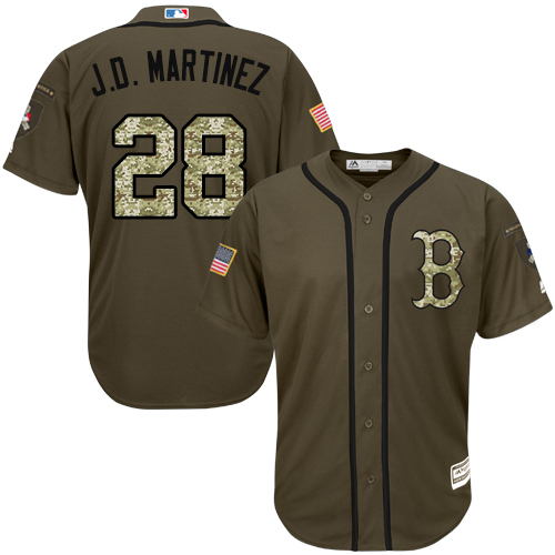 Youth Majestic Boston Red Sox #28 J. D. Martinez Authentic Green Salute to Service MLB Jersey