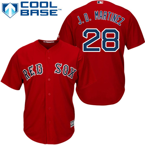 Youth Majestic Boston Red Sox #28 J. D. Martinez Authentic Red Alternate Home Cool Base MLB Jersey