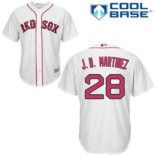 Youth Majestic Boston Red Sox #28 J. D. Martinez Authentic White Home Cool Base MLB Jersey