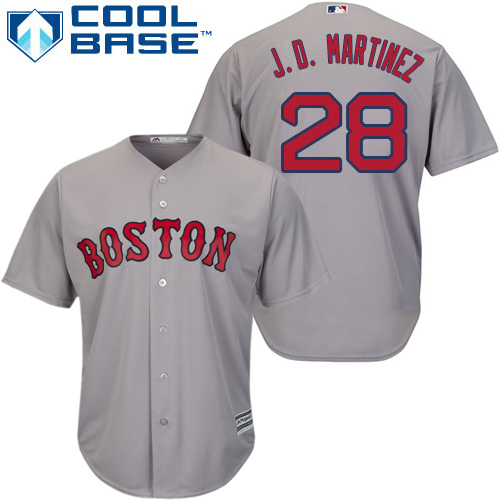 Youth Majestic Boston Red Sox #28 J. D. Martinez Replica Grey Road Cool Base MLB Jersey
