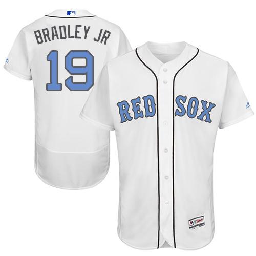 Men's Majestic Boston Red Sox #19 Jackie Bradley Jr Authentic White 2016 Father's Day Fashion Flex Base MLB Jersey