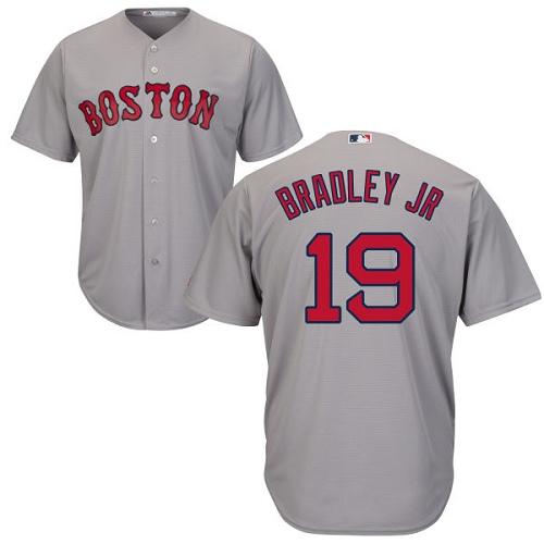 Men's Majestic Boston Red Sox #19 Jackie Bradley Jr Replica Grey Road Cool Base MLB Jersey