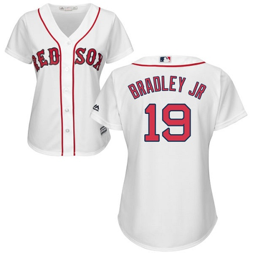 Women's Majestic Boston Red Sox #19 Jackie Bradley Jr Authentic White Home MLB Jersey