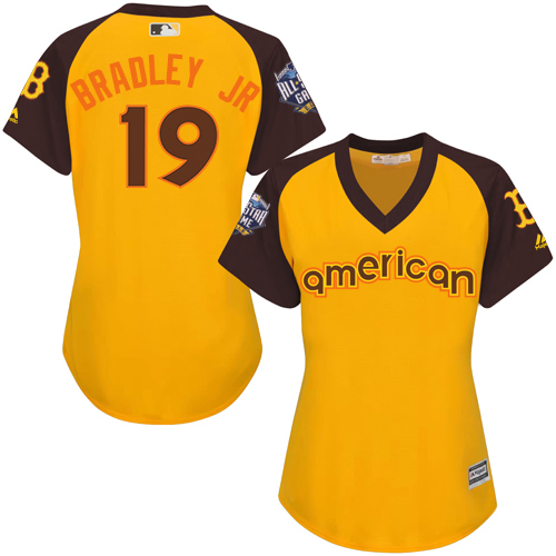 Women's Majestic Boston Red Sox #19 Jackie Bradley Jr Authentic Yellow 2016 All-Star American League BP Cool Base MLB Jersey