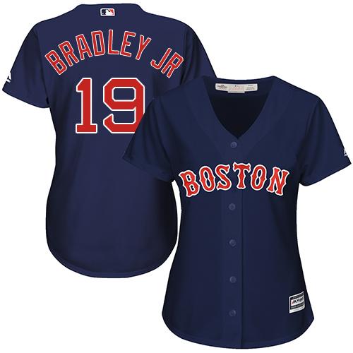 Women's Majestic Boston Red Sox #19 Jackie Bradley Jr Replica Navy Blue Alternate Road MLB Jersey