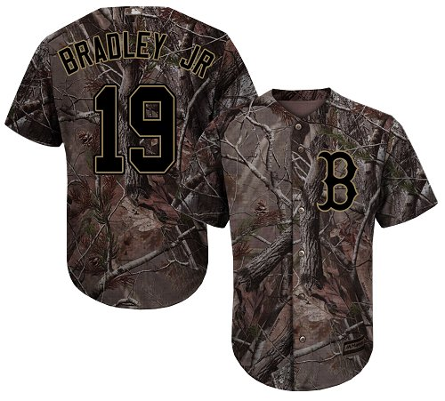 Youth Majestic Boston Red Sox #19 Jackie Bradley Jr Authentic Camo Realtree Collection Flex Base MLB Jersey