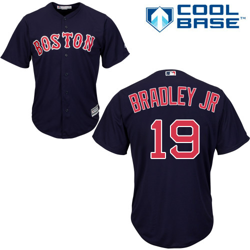 Youth Majestic Boston Red Sox #19 Jackie Bradley Jr Authentic Navy Blue Alternate Road Cool Base MLB Jersey