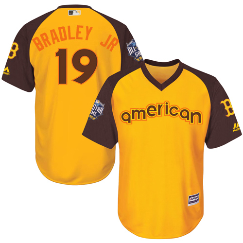 Youth Majestic Boston Red Sox #19 Jackie Bradley Jr Authentic Yellow 2016 All-Star American League BP Cool Base MLB Jersey