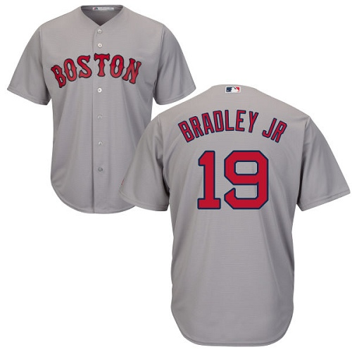 Youth Majestic Boston Red Sox #19 Jackie Bradley Jr Replica Grey Road Cool Base MLB Jersey