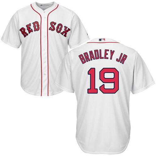 Youth Majestic Boston Red Sox #19 Jackie Bradley Jr Replica White Home Cool Base MLB Jersey