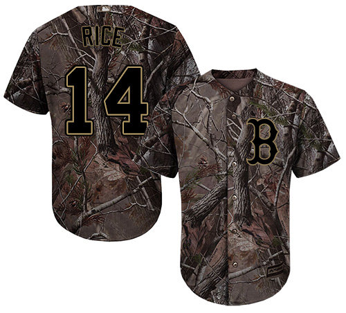 Men's Majestic Boston Red Sox #14 Jim Rice Authentic Camo Realtree Collection Flex Base MLB Jersey