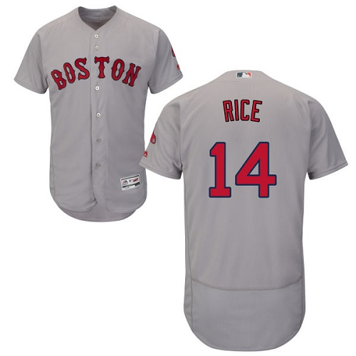 Men's Majestic Boston Red Sox #14 Jim Rice Grey Road Flex Base Authentic Collection MLB Jersey
