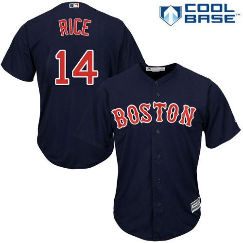 Men's Majestic Boston Red Sox #14 Jim Rice Replica Navy Blue Alternate Road Cool Base MLB Jersey