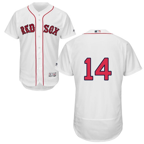 Men's Majestic Boston Red Sox #14 Jim Rice White Home Flex Base Authentic Collection MLB Jersey