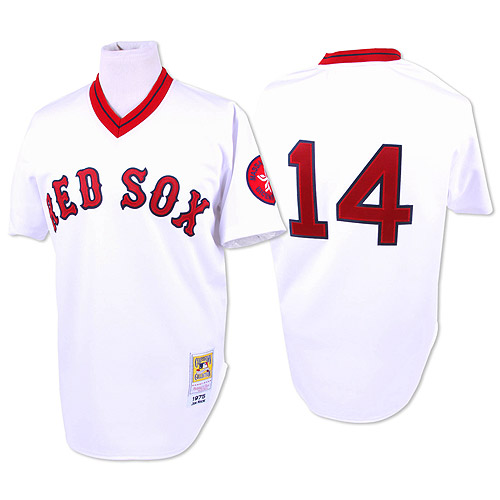 Men's Mitchell and Ness 1975 Boston Red Sox #14 Jim Rice Replica White Throwback MLB Jersey