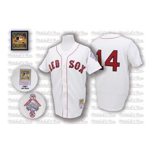 Men's Mitchell and Ness 1987 Boston Red Sox #14 Jim Rice Authentic White Throwback MLB Jersey
