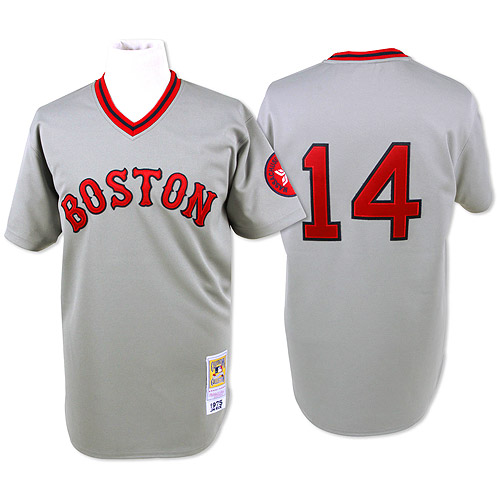 Men's Mitchell and Ness Boston Red Sox #14 Jim Rice Authentic Grey Throwback MLB Jersey
