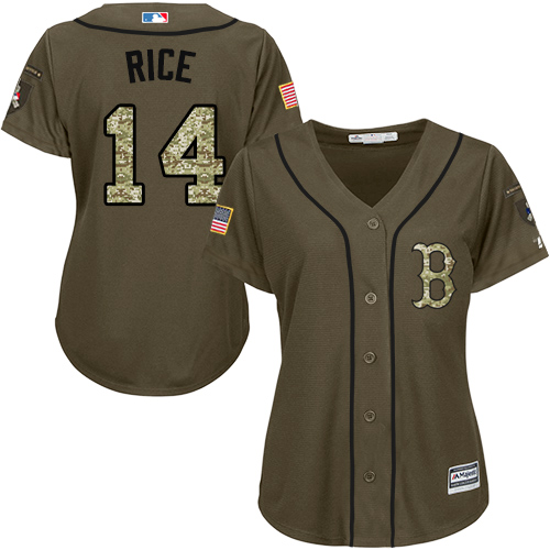 Women's Majestic Boston Red Sox #14 Jim Rice Authentic Green Salute to Service MLB Jersey