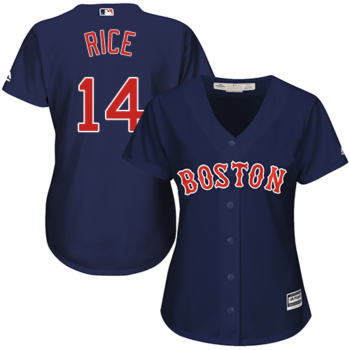 Women's Majestic Boston Red Sox #14 Jim Rice Authentic Navy Blue Alternate Road MLB Jersey