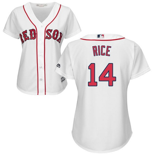 Women's Majestic Boston Red Sox #14 Jim Rice Authentic White Home MLB Jersey