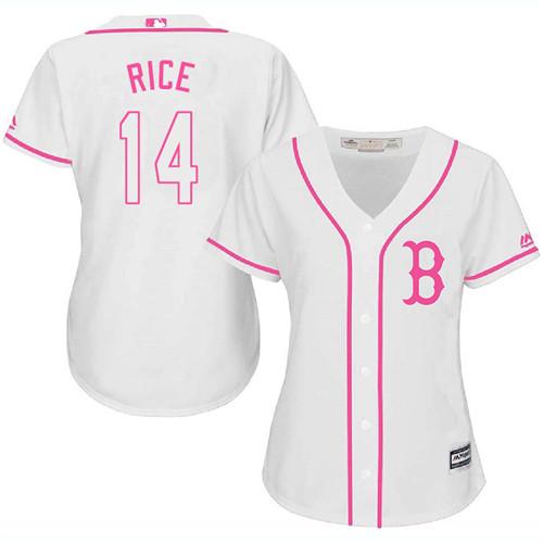 Women's Majestic Boston Red Sox #14 Jim Rice Replica White Fashion MLB Jersey