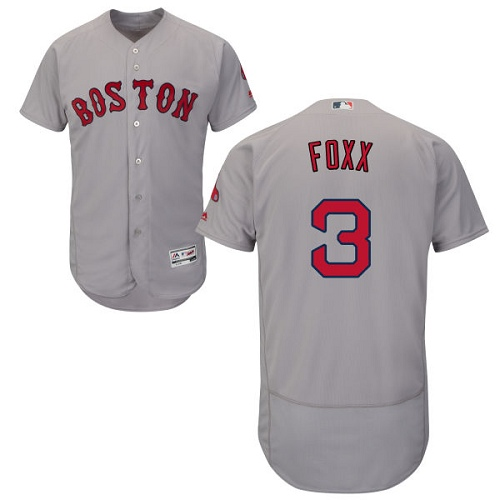 Men's Majestic Boston Red Sox #3 Jimmie Foxx Grey Road Flex Base Authentic Collection MLB Jersey