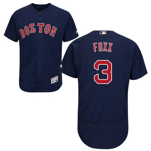 Men's Majestic Boston Red Sox #3 Jimmie Foxx Navy Blue Alternate Flex Base Authentic Collection MLB Jersey