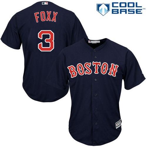 Men's Majestic Boston Red Sox #3 Jimmie Foxx Replica Navy Blue Alternate Road Cool Base MLB Jersey