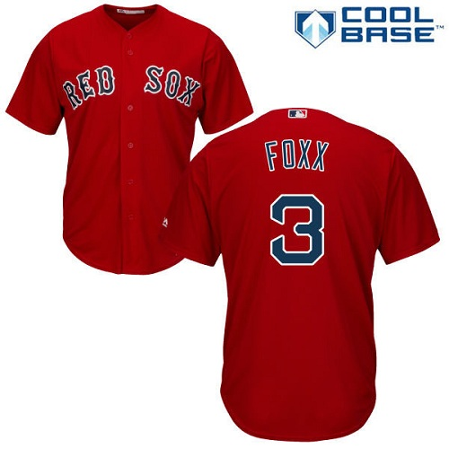 Men's Majestic Boston Red Sox #3 Jimmie Foxx Replica Red Alternate Home Cool Base MLB Jersey