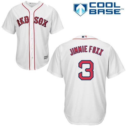 Men's Majestic Boston Red Sox #3 Jimmie Foxx Replica White Home Cool Base MLB Jersey