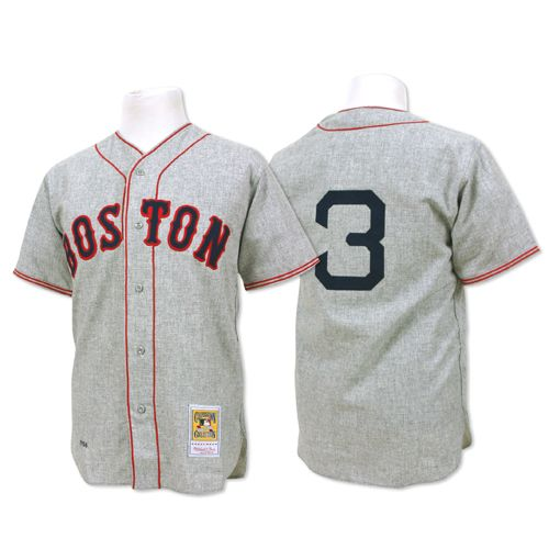 Men's Mitchell and Ness 1936 Boston Red Sox #3 Jimmie Foxx Authentic Grey Throwback MLB Jersey
