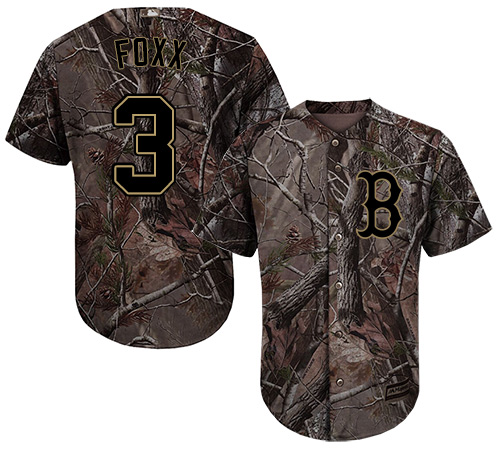 Youth Majestic Boston Red Sox #3 Jimmie Foxx Authentic Camo Realtree Collection Flex Base MLB Jersey