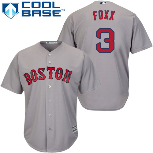 Youth Majestic Boston Red Sox #3 Jimmie Foxx Authentic Grey Road Cool Base MLB Jersey