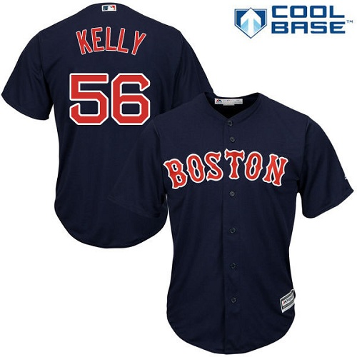 Youth Majestic Boston Red Sox #56 Joe Kelly Authentic Navy Blue Alternate Road Cool Base MLB Jersey