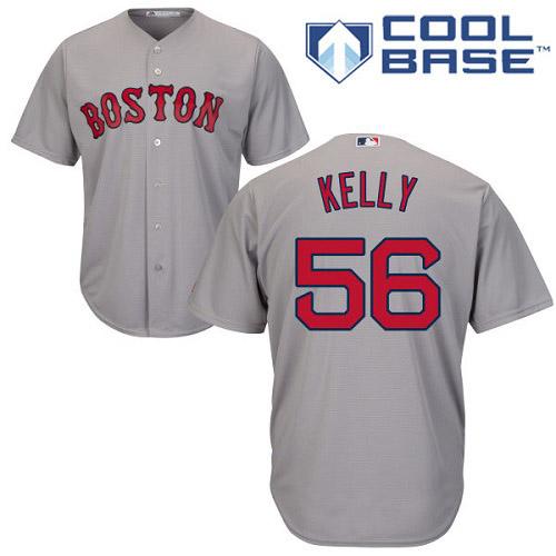 Youth Majestic Boston Red Sox #56 Joe Kelly Replica Grey Road Cool Base MLB Jersey