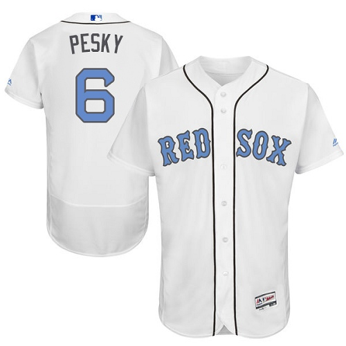 Men's Majestic Boston Red Sox #6 Johnny Pesky Authentic White 2016 Father's Day Fashion Flex Base MLB Jersey