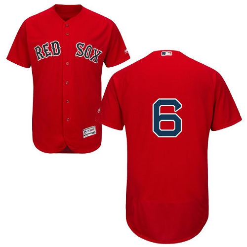 Men's Majestic Boston Red Sox #6 Johnny Pesky Red Alternate Flex Base Authentic Collection MLB Jersey