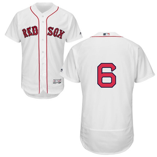 Men's Majestic Boston Red Sox #6 Johnny Pesky White Home Flex Base Authentic Collection MLB Jersey