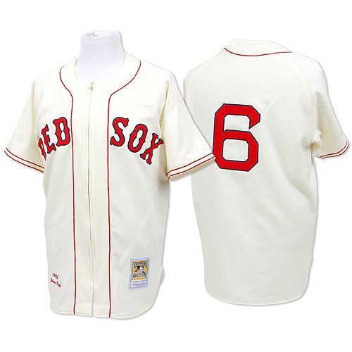 Men's Mitchell and Ness Boston Red Sox #6 Johnny Pesky Authentic Cream Throwback MLB Jersey