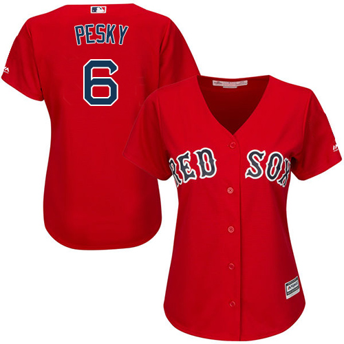 Women's Majestic Boston Red Sox #6 Johnny Pesky Authentic Red Alternate Home MLB Jersey